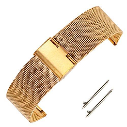 16mm Shinny metálico cinturón de Correa de Milanese Pulido para Reloj de Las Mujeres de Acero Inoxidable 304 de Oro Macizo