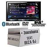 Seat Ibiza 6J 2DIN Anthrazit Schwarz - Pioneer AVH-X5800DAB - 2DIN Multimedia Autoradio inkl. DAB Antenne - Einbauset