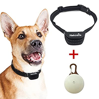 Nakosite PET2433 Best Anti Bark Dog Collar, Stop dogs barking Collar. Uses audible Sound and Vibration. NO SHOCK. Nylon Neck Strap for Small Medium and Large Dogs. LED DOG TAG from Nakosite