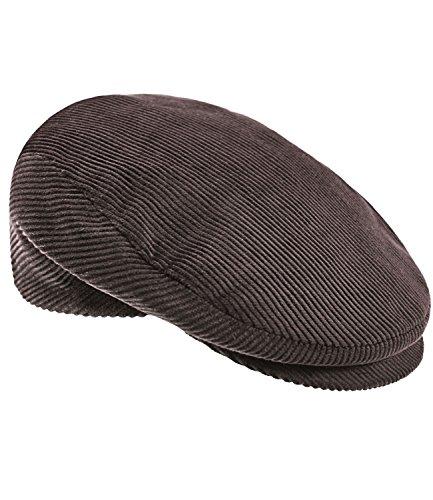 EveryHead Damenflatcap Flatcap Schiebermütze Schirmmütze Cordmütze Herbstmütze Wintermütze Golfermütze Cap für Frauen (EH-30033-W17-DA1-82-59) in Braun, Größe 59 inkl Hutfibel