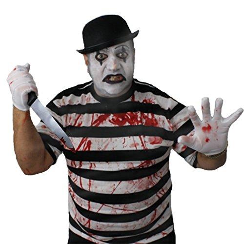 ILOVEFANCYDRESS Zombie Killer Pantomime Clown = STRASSENKÜNSTLER=KOSTÜME VERKLEIDUNG=Tshirt+ Melone+Handschuhe+KUNSTBLUT+Make UP+Plastik Messer= SMALL