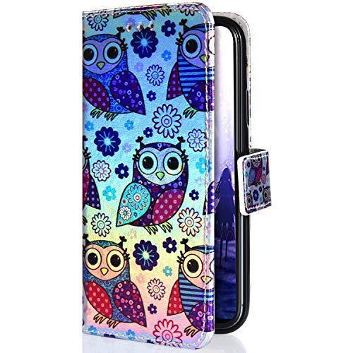 Uposao Kompatibel mit Samsung Galaxy S7 Edge Hülle Glitzer Bling Sparkle Muster Handyhülle Flip Schutzhülle Leder Hülle Tasche Wallet Case Klappbar Brieftasche Handytasche Ständer,Comic Eule