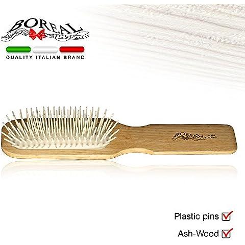 Spazzola capelli modello rettangolare in legno naturale di frassino con gomma pneumatica e picchi in plastica. Linea