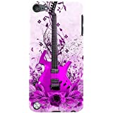 For Apple IPod Touch 5 Pink Guitar, Guitar, Flower, Leaf, Pink Background Designer Printed High Quality Smooth Matte Protective Mobile Pouch Back Case Cover By BUZZWORLD