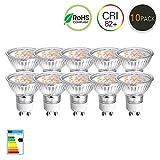 Gvoree 10 Packs GU10 LED-Lampe, ersetzt 40W Halogenlampen 4W 400lm 3000K 120 Grad Abstrahlwinkel AC 220V-240V LED-Birne LED-Lampen Deckenstrahler, Deckenlampen [Energieklasse A +]