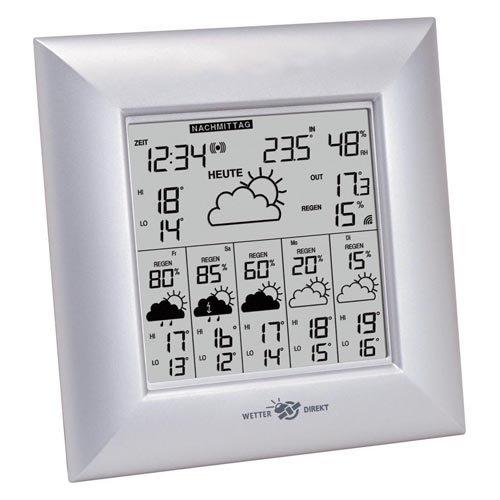 Wetter Direkt Station WD 6000A - mit 6 Tage Vorhersage, silber, 18,4 x 3,6 x 18,7 cm