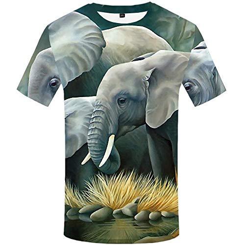 Luotears Camiseta con Estampado de Animales en Negro y Negro Little White Bear Anime Cute Little Tiger Apple Tree Technology Lloviendo Elefante @ L_Hongrui