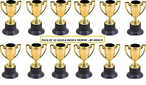 Plastic Trophies – 4 Inch Cup Golden Trophies For Children, Competitions, Awards, Parties, Party favors, Props, Rewards, Prizes, Games, School, Field Day, Boys And Girls By Kidsco