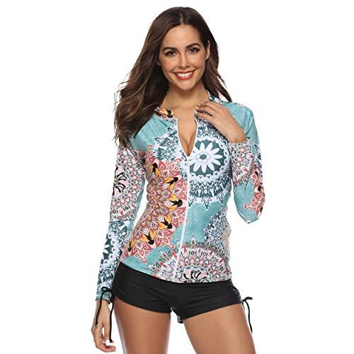 Caracilia Frauen Langarm Rashguard Swim Shirt UPF 50+ Badeanzug Top F17-XXL 100 6 X Capri
