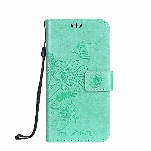 Premium PU Leder Folio Stand Case, Solid Farbe prägeartig Blumen Stil Schutzhülle Tasche Tasche mit Lanyard & Card Slots für Huawei P10 Mini (P10 Lite) ( Color : Modena ) Green