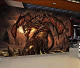 Jeu World of Warcraft Dragon Papier Peint Décor À La Maison Photo Murale Papier Peint-Environ 400 × 280CM 8 bandes