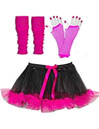 Just For Fun Womens Tutu With Contrasting Trim Plus Legwarmers & Fishnet Gloves - Size 8 To 20