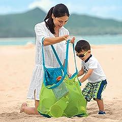 Idea Regalo - Sunreek sporta da spiaggia in rete, borsa anti-sabbia per mare, piscina, barca, ideale per riporvi giocattoli da bambino (taglia XL)