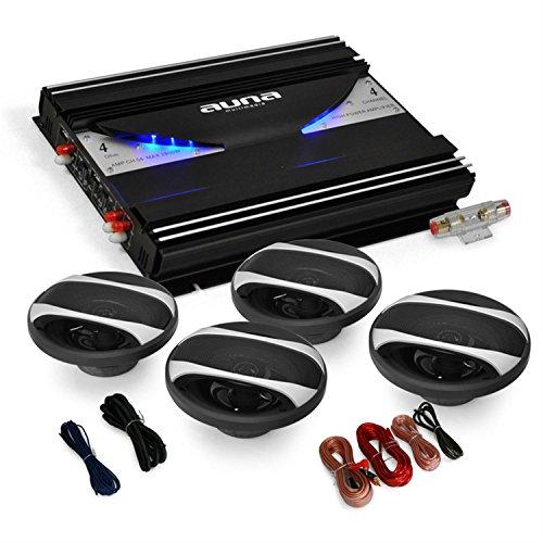 Auna Black Line 400 Equipo de Sonido HIFI para Coche (Amplificador 4 canales 2800W, 4x altavoz 6.5' 800W, set cables)