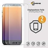 coverso Display-Schutzfolie für Galaxy S7 Edge [2 Stück] TPU-Folie, Kein Panzerglas, haftet Auch an Runder Seite