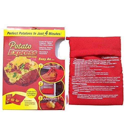 ParaCity Sacchetto di cottura per patate in forno a microonde, confezione da 2 Red