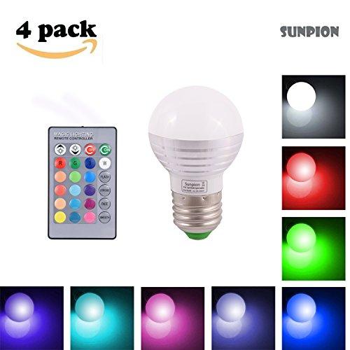 (4 Pack)3W RGB LED lampadine Bulbo,Sunpion® 16 Cambia Colore Lampada Bulbo a LED con IR Telecomando,Celebration per Natale, Espeacially Per Decorazione (3W E27 4Pcs)