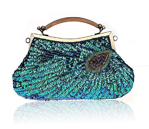 Modello di pavone mano bag/ Pochette di perline/ borsa da sera con paillettes/Package banchetto-D