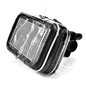 "For 5"" 6"" GPS SAT NAV Smart Phone Samsung Galaxy S3 i9300 i9220 HTC One X etc. Waterproof Leather Case Protective Bag w/ Mount Holder Motorcycle Motorbike Cycle Bicycle"