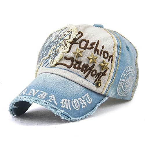 Unisex Baumwolle Baseball Sonnenhut Visier Brief Bestickt Headwear Sport Cap Trucker Hut for Outdoor Sports Golf Camping Reisen g9909 Hut (Color : Light Blue, Size : One Size) Light Blue Trucker Hut