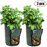 YuChiSX 2 Pack Sacchetti per Coltivazione di Patate,10-Gallon Finestra Verdure Grow Bag,Contenitore Patate con Patta per Piante da Vaso di aerazione con Manici