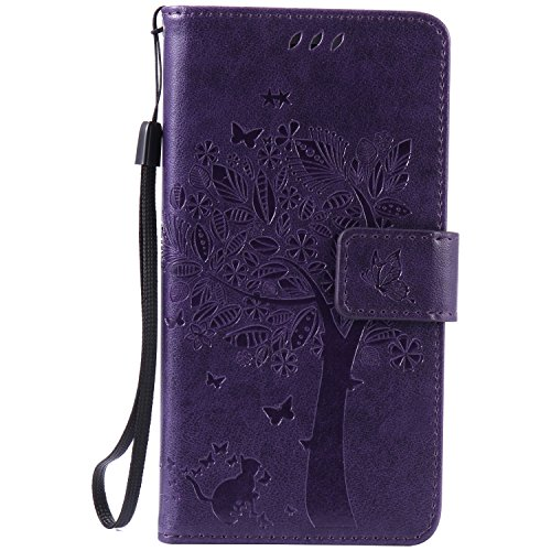 Sony-Xperia-C5-Ultra-Case-Leather-Blue-Cozy-Hut-Wallet-Case-Premium-Soft-PU-Leather-Notebook-Wallet-Embossed-Flower-Tree-Design-Case-with-Kickstand-Stand-Function-Card-Holder-and-ID-Slot-Slim-Flip-Pro