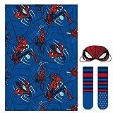 Cerdá Set Regalo Manta Spiderman Calentadores, Azul (Azul 38), One Size (Tamaño del fabricante:única) para Niños