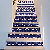 LIZHIOO Treppenaufkleber Blaue Flamingo Verkleiden Sich Treppe Wandaufkleber Treppen Dekorative Wandaufkleber (100cm*18cm) 13pcs