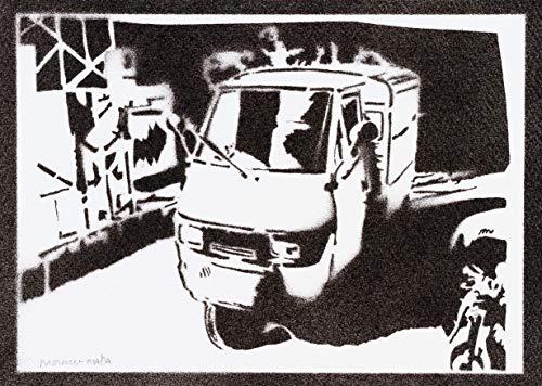 Motorrad Piaggio Ape Poster Plakat Handmade Graffiti Street Art - Artwork