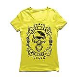 Frauen T-Shirt Lebe schnell - stirb zuletzt, Fahrradermine, Motorradbekleidung, Liebe zum Fahren, tolles Geschenk für Biker (Medium Gelb Mehrfarben)