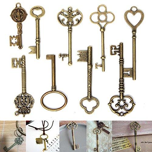 lett Schlüssel bronze CHARM Anhängern für DIY Schmuck zu (Diy-king-krone)