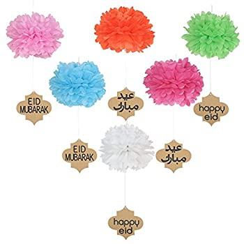 Lembeauty 6pcs Seidenpapier Flower Ball Hängen Pom Mit Eid Mubarak Tags Für Party Einkaufszentrum Aktivitäten Fenster Decor 1