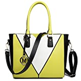 Miss Lulu Leather Look V-Shape Shoulder Handbag (Yellow)