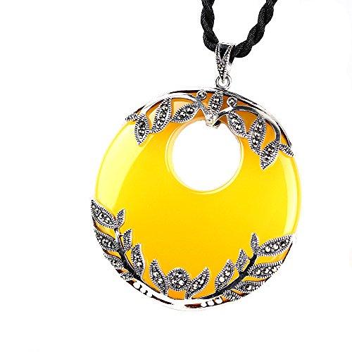 nd 925 Sterling Silber Gelb Chalcedon Achat Halskette Jade Anhänger Für Frauen Geschenk Party Täglich Casual Kostüm Schmuck Zubehör (Thailand Kostüm Für Mädchen)