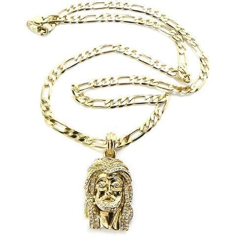 Oro tono volto di Gesù Ciondolo w/5mm 60,96cm Figaro catena msp140g