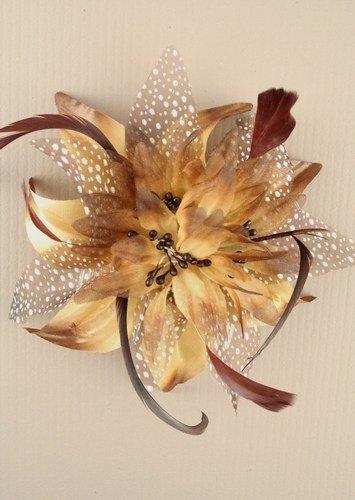 Peigne de mariage - Fleur avec des plumes - Couleur brun