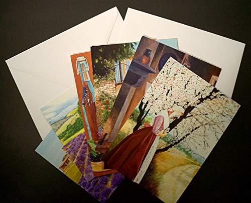 Stein Kunst Kostüm - Set mit 6 Postkarten, Format 12 x 17 cm, mit Umschlägen: Provence, Typ Beridot