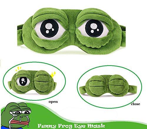 Augenmaske Schlaf,Bllomsem Flusen Karikatur Frosch Augen Maske Schlafen Lustige Neuheit Augen Abdeckung Eyeshade Schlaf Reise Maske (Grün)