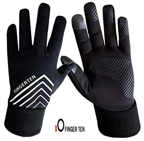 Set di guanti invernali da corsa, da donna, uomo, touchscreen, con dorso in pile, impermeabili, antiscivolo, con impugnatura 3M, con fascia per le orecchie inclusa, XL