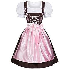 Idea Regalo - Gaudi-Leathers Bavarese Dirndl Set Marrone con Rosa 3 Pezzi Costume Tipico Tirolese per Oktoberfest Carnevale Donna 38