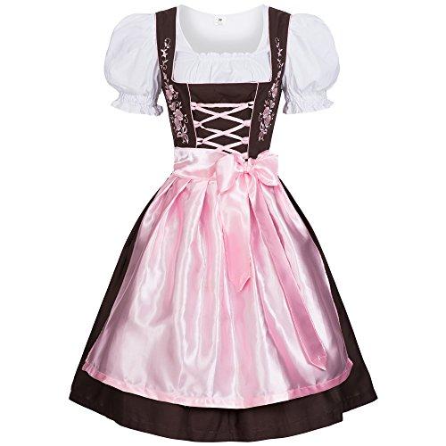 Gaudi-Leathers Dirndl marrón con Rosa Traje Tradicional de Tirolesa Vestido Moda Alemana de Oktoberfest carnevale para Mujer 38