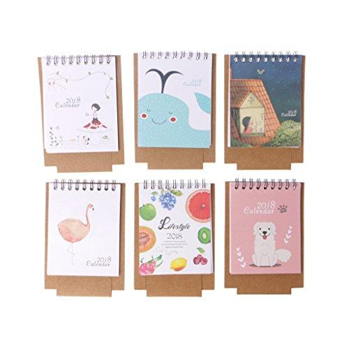 Calendario guoyy Cartoon Desktop Mini Animali e Fiori Design Flip Stand Planner Memo carta