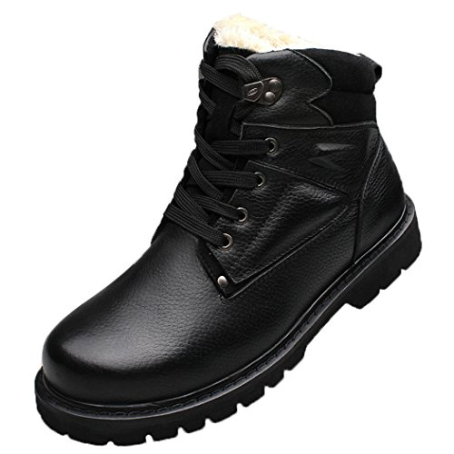 WALK-LEADER Mens Winter Leather Fur Lined Combat Fashion Military Snow Boots Black UK 7.5