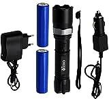 Ora-Tec Swat Cree LED WL7 Taschenlampe mit 2 Akkus + inkl. Ladegerät und Zoomfunktion (Schwarz)