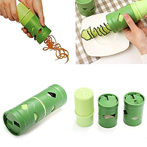 Hand-Spiralschneider,KIMODO Spiralschneider Gemüsehobel für Gemüsespaghetti Kartoffel Zucchini Möhren Reibe Spargelschäler Gurkenschäler Gurkenschneider Gemüseschneider(grün)
