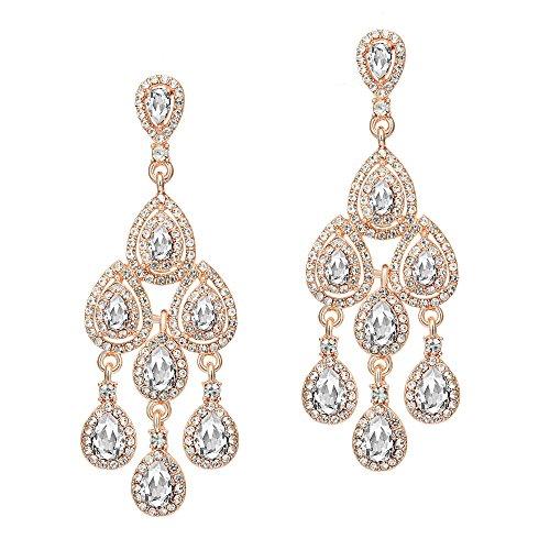(Coucoland 1920s Ohrringe Damen Retro Stil Perlen Dangle Ohrringe Inspiriert von Great Gatsby Damen Kostüm Accessoires (Stil 2-Rose Gold))