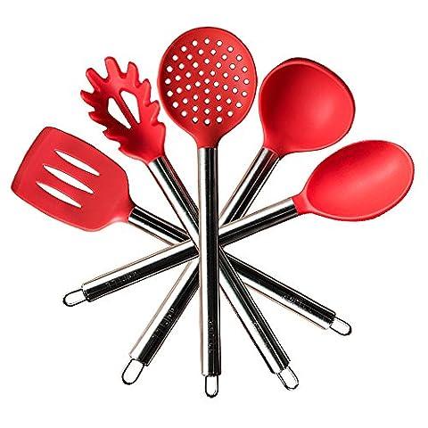TTLIFE Set de 5 Ustensiles de Cuisine en Silicone ( 1 spatule, 1 cuillère à pates, 1 écumoire, 1 louche, 1 cuillère) - manche en acier inoxydable - [Classe énergétique A ++]