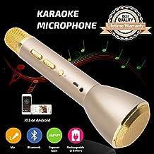 Micrófono para Niños, Micrófono Inalámbrico Bluetooth Karaoke con Altavoz Niños Máquina de Karaoke Portátil para Familia Al Aire Libre KTV Fiesta Niños Cumpleaños Regalo de Navidad Oro