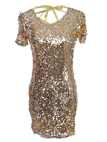 Anna-Kaci S/M Fit Shiny Metallic Gold ganz Pailletten Lady Gaga inspiriert Kleid