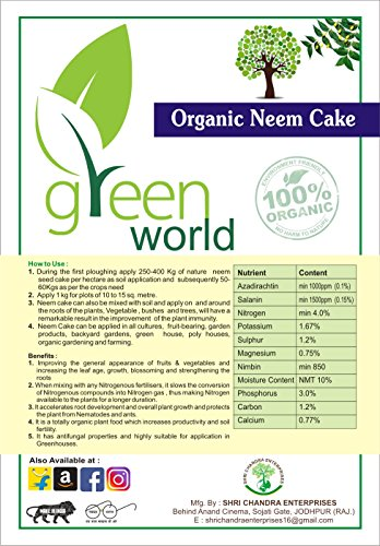 Green World Organic Neem Cake Manure Powder 500 gms(100 % Organic & Natural)  available at amazon for Rs.208